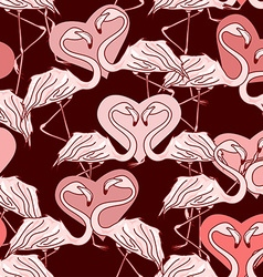 Seamless pattern of flamingos vector image