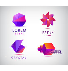set minimalistic geometric origami logo vector image