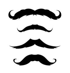 set mustache icon black and white emblem vector image
