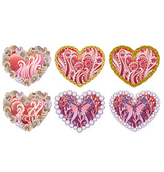 set of beautiful hearts with ornament of sea vector image