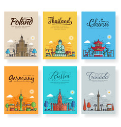set of outline different cities for travel vector image
