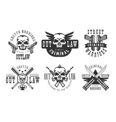 set original emblems related to criminal vector image