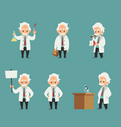 Set scientist or professor at work characters vector