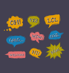 set speech bubbles in comic style vector image