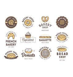 Set vintage style bakery shop labels badges vector