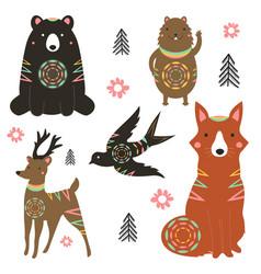 set with animals - bear fox deer hamster swallow vector image