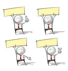 Simple Business People Holding Up a Label vector