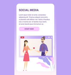 social media online dating responsive banner vector image