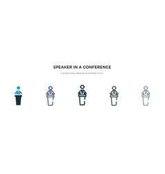 Speaker in a conference icon in different style vector