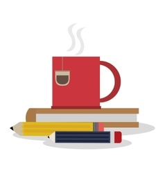 Tea mug pencil and books design vector