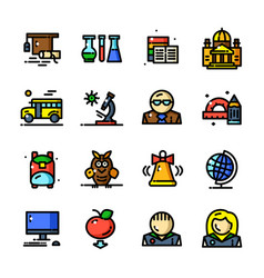 thin line knowledge icons set vector image