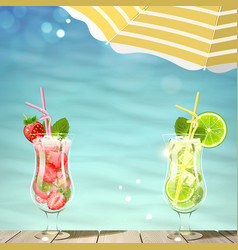 Tropical background with fresh cocktails vector