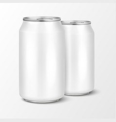 Two realistic 3d empty glossy metal white vector