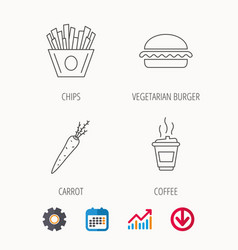 vegetarian burger chips and coffee icons vector image