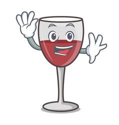 Waving wine character cartoon style vector