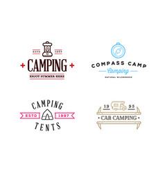 wilderness camping logo templates sign design vector image