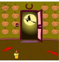 Witch on a broomstick in the open doorway vector