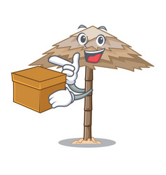 With box character tropical sand beach shelter vector