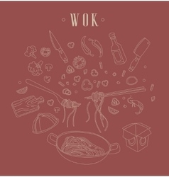 WokRelated Object Set With Text vector image