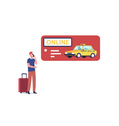 young man ordering taxi driver using mobile online vector image