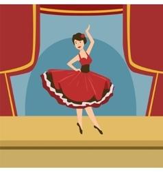 Ballerina in stylized spanish dress solo dance vector