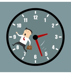 Businessman racing against the clock vector image vector image