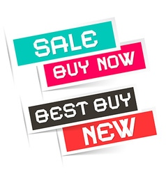 Sale - Buy Now - Best Buy and New Labels - vector image vector image