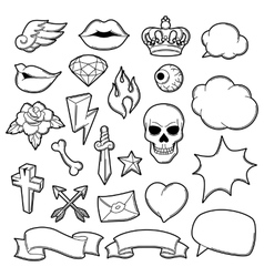 Set of retro tattoo symbols Cartoon old school vector image