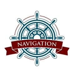Ship steering wheel logo vector image