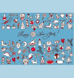 Big bundle of christmas doodles vector