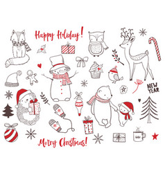 cute christmas animals and elements set vector image vector image