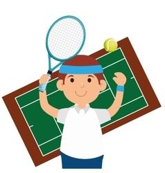 happy man tennis court game vector image vector image