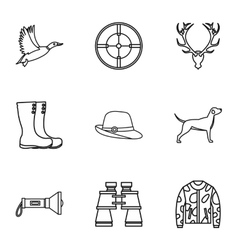 Hunting of animals icons set outline style vector image vector image