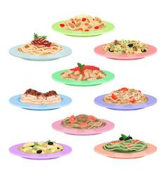Italian pasta set spaghetti dishes on plates vector