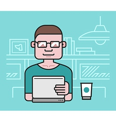 Man working at the laptop vector image vector image