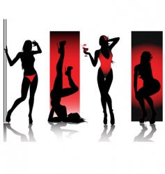 sexy silhouettes in red vector image vector image