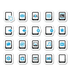 Tablet icons set - media settings web vector image vector image