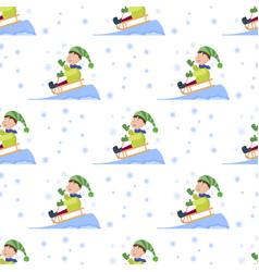 christmas kids playing winter games seamless vector image vector image