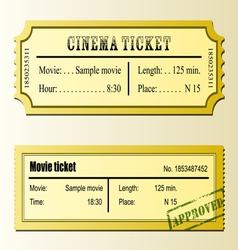 Cinema movie tickets vector image vector image