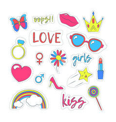 girl patches sticker color set vector image