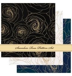 Seamless floral rose pattern set vector image vector image