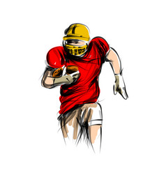color line sketch of american football player vector image vector image