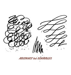 set of hand drawn ink pen swirly scribbles vector image vector image