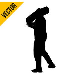 A man carrying sack on shoulder vector