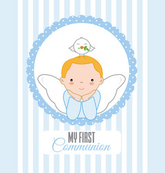 Angel with dove on top of his head vector