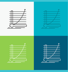 arrow chart curve experience goal icon over vector image