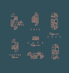 Art deco coffee labels dark vector