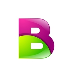 B letter green and pink logo design template vector image