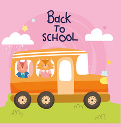 back to school education cute fox and squirrel in vector image
