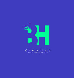 bh letter logo design with negative space concept vector image